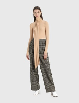 MM6 Maison Margiela Wide Leg Pants In Shetland Check Wool