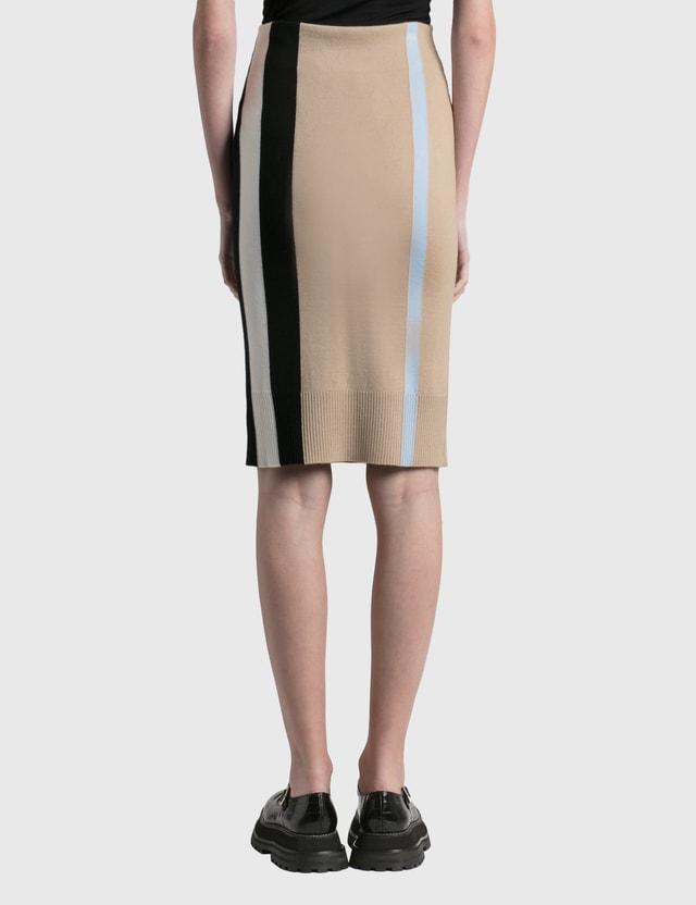 Burberry Logo Merino Wool Blend Jacquard Skirt Soft Fawn Women