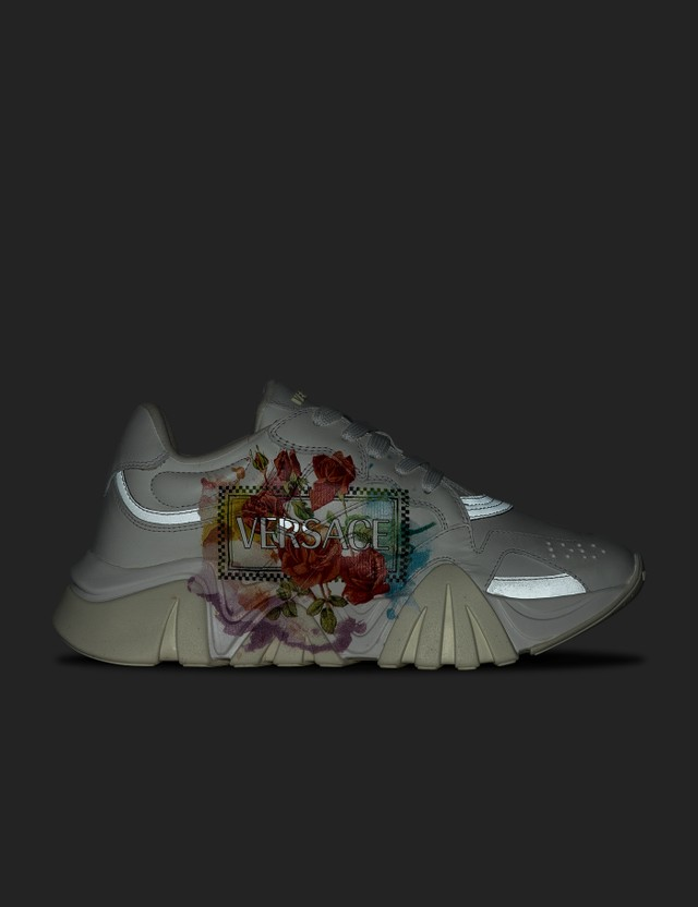 Versace Floral Print Squalo Sneaker Bianco+multicolor Women