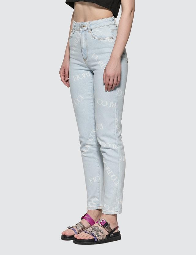 Fiorucci Scattered Logo Tara Jeans Light Vintage Women