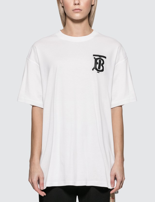 Burberry Monogram Motif Cotton Oversized T-shirt White Women
