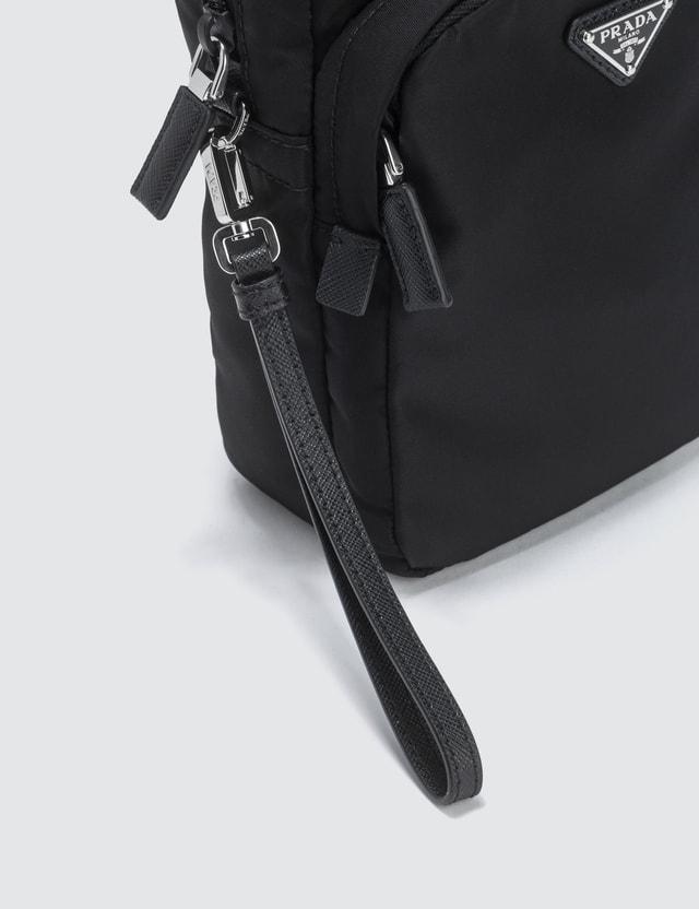 Prada Nylon And Leather Trim Vertical Washbag