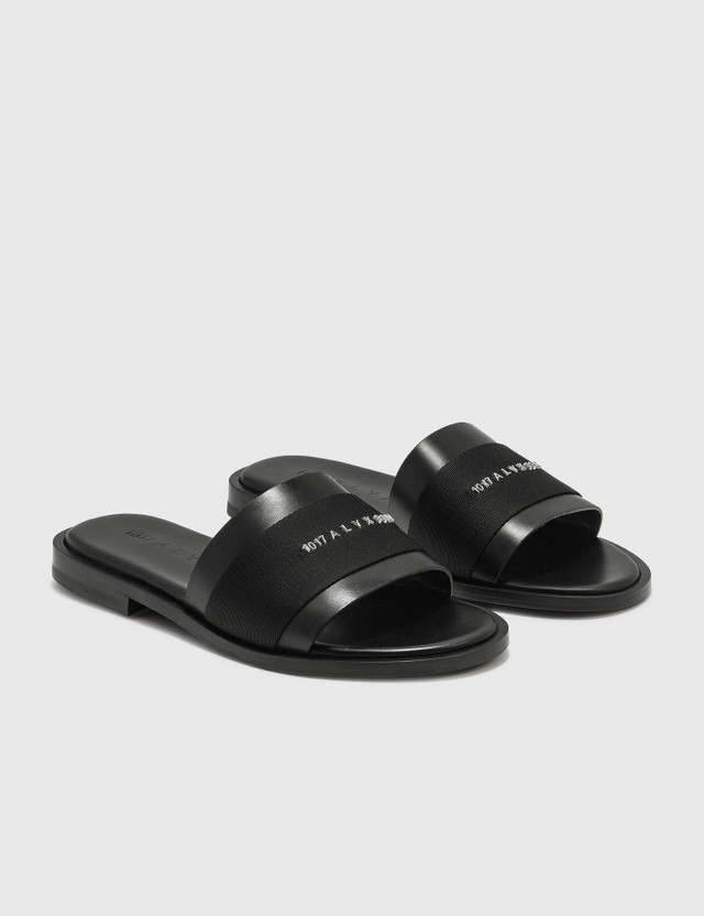 1017 ALYX 9SM Leather Logo Slide Black Women