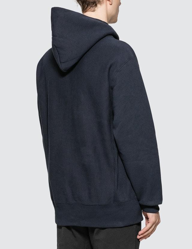 Champion Reverse Weave Big Script Hooded Sweatshirt Navy Men