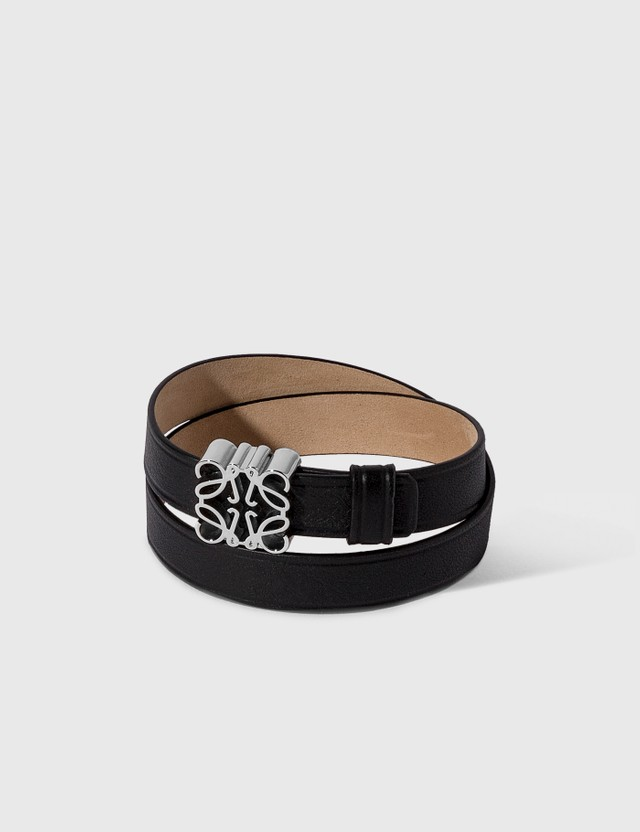 Loewe Anagram Double Bracelet Black/palladium Women