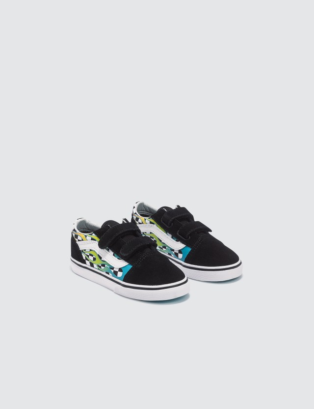 Vans Old Skool V Toddler (surf Flame) Scuba Blue/black Kids