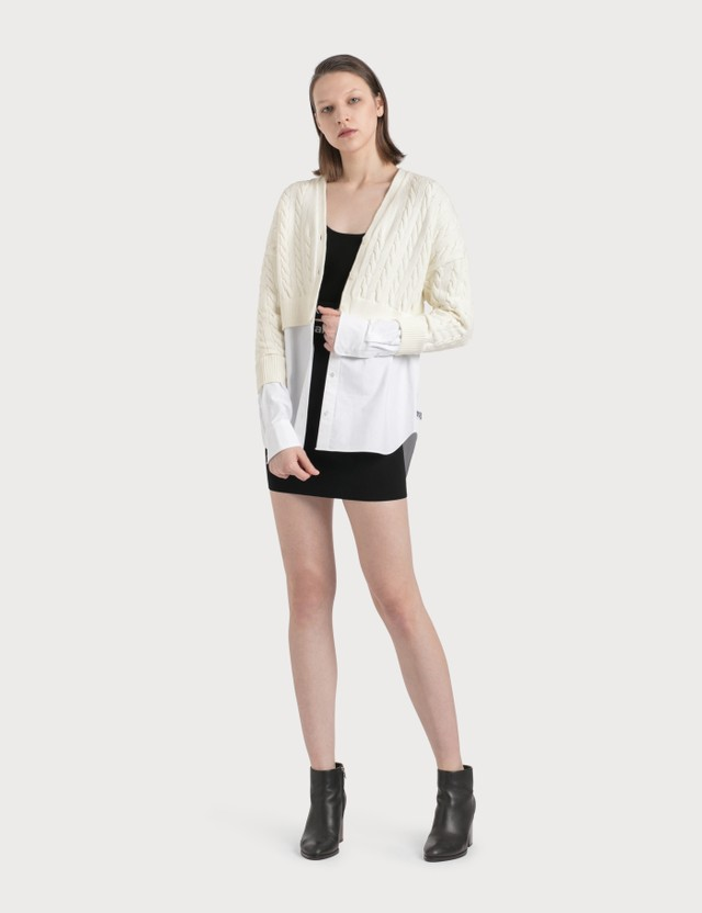 Alexander Wang.T Cable Bi-layer Cardigan With Oxford Shirting