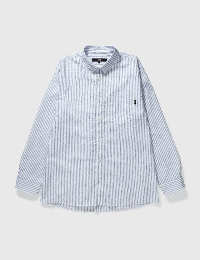 LMC Seersucker Basic Stripe Shirt Blue Men