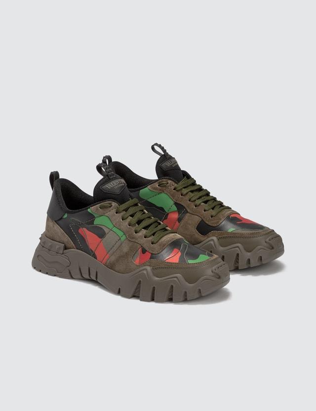 Valentino Valentino Garavani Camouflage Rockrunner Plus Sneaker Army Green-greenbriar/army Green-nero/ar Men