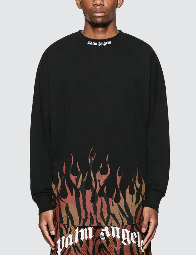 Palm Angels Tiger Flames Logo Over Long Sleeve T-Shirt