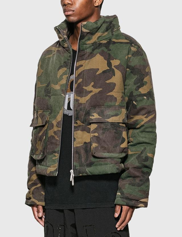 Rhude 캐모 퍼프 재킷