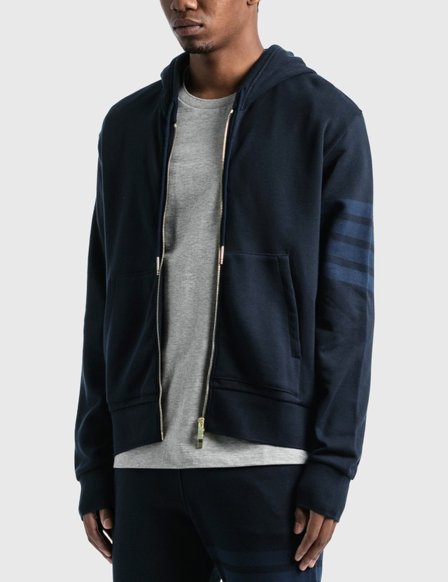 Thom Browne Relaxed Fit Zip Up Hoodie