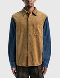 Stussy Corduroy Denim Mix Shirt Khaki Men