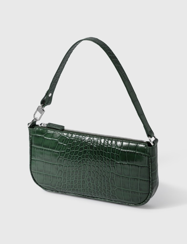 BY FAR Rachel Dark Green Croco Embossed Leather Bag Dark Green Dn Women