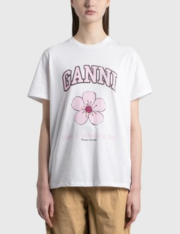 Ganni Cherry Blossom Basic Cotton Jersey T-Shirt