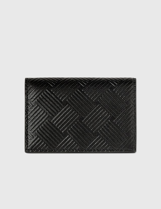 Bottega Veneta Intrecciato Textured Leather Coin Case Black-silver. Men