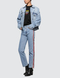 MSGM Ribbed Msgm Logo Light Blue Washed Jeans