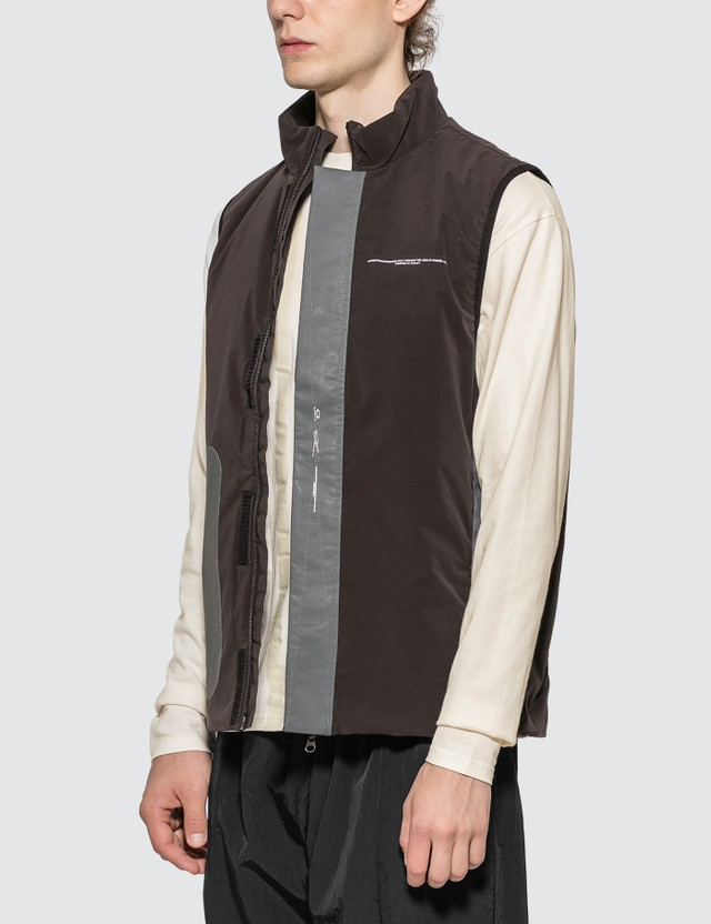 Oakley by Samuel Ross Nylon Pocket Vest Dark Brown Men