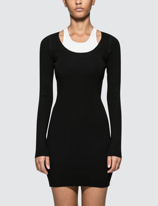 Alexander Wang.T Bodycon Basics Bi-layer Long Sleeve Mini Dress