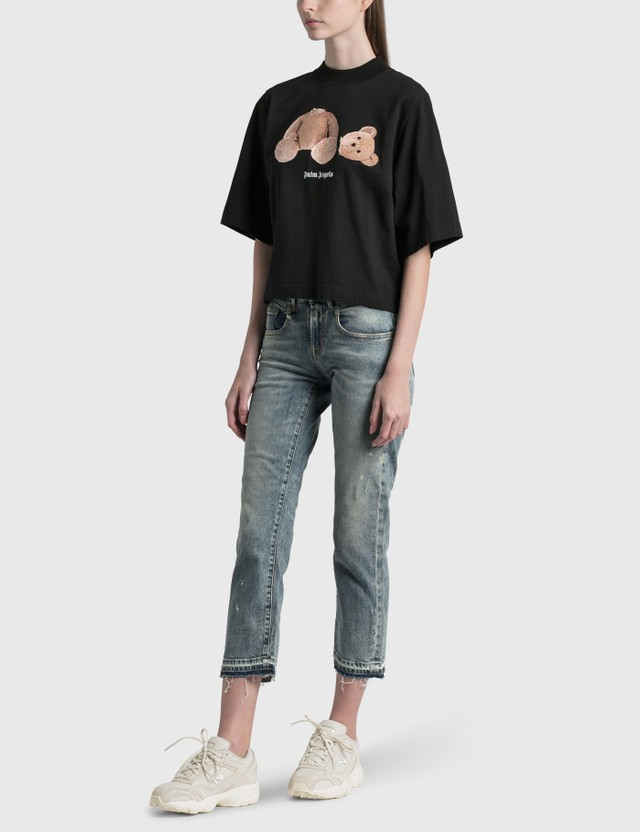 Palm Angels Palm Angels Bear Cropped T-Shirt Black Women