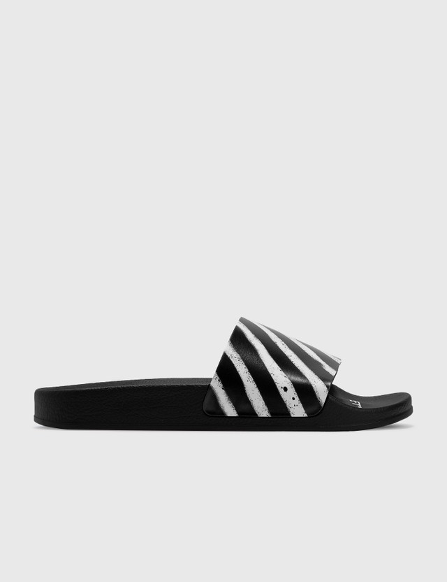 Off-White Spray Diagonal Stripes Slider Black Men