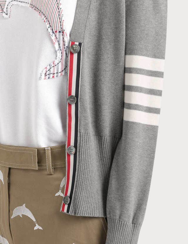 Thom Browne Hector Icon Intarsia V Neck Cardigan