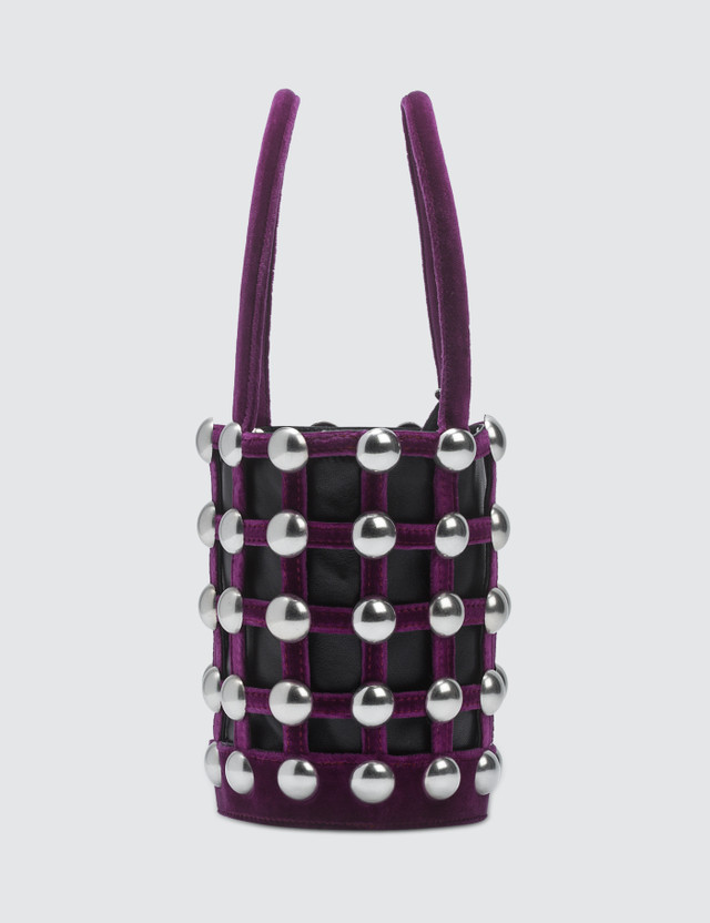 Alexander Wang Roxy Cage Velvet Mini Bucket with Studs