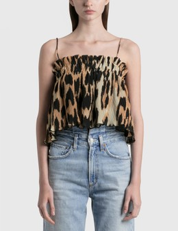 Ganni Pleated Georgette Strap Top