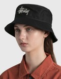 Stussy Big Logo Twill Bucket Hat Black Women