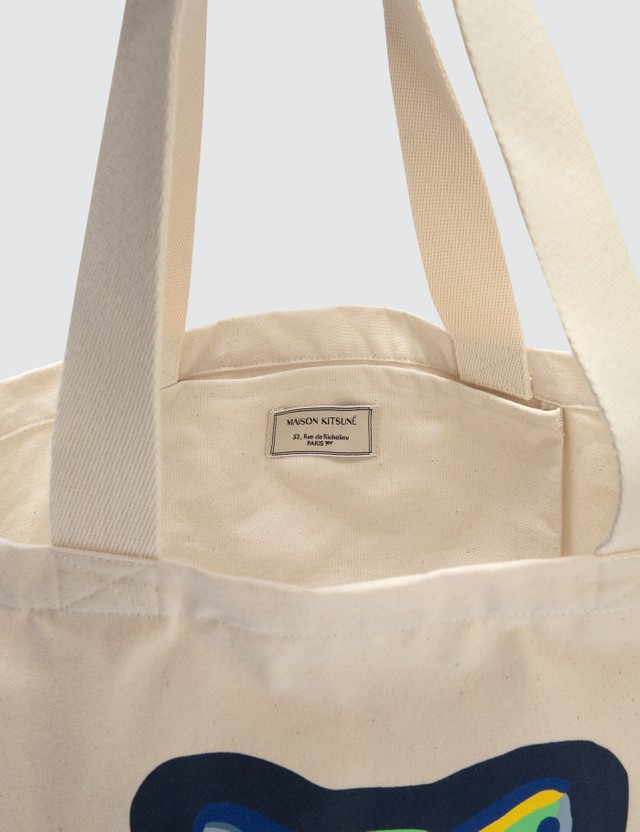 Maison Kitsune Neon Fox Head Tote Bag