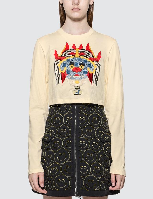 Kirin Haetae Jersey Cropped Long Sleeve T-shirt Egret Mult Women