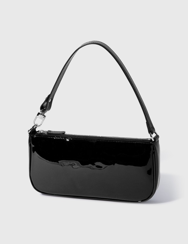 BY FAR Rachel Black Patent Leather Shoulder Bag Black Women