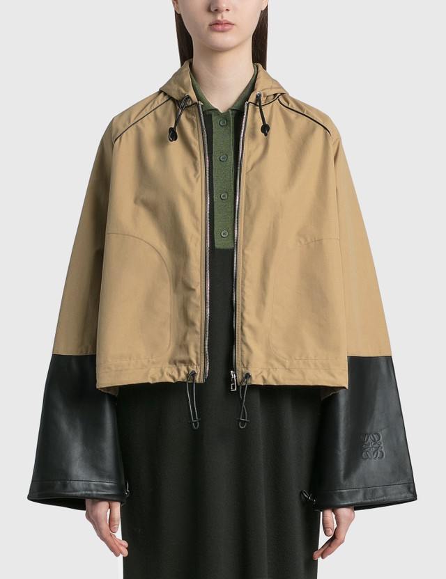 Loewe Hooded Jacket In Cotton And Nappa Sweet Caramel Women