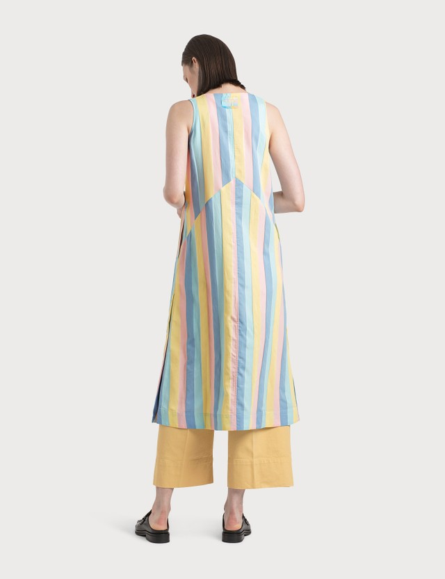 Maison Kitsune Buttoned Camisole Dress Pastel Stripes Women