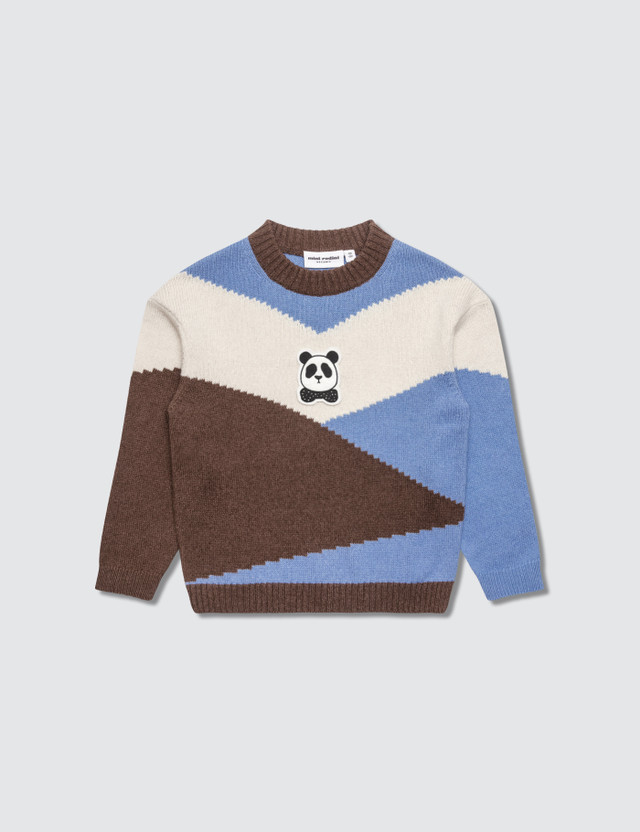 Mini Rodini Panda Knitted Wool Pullover Brown Kids