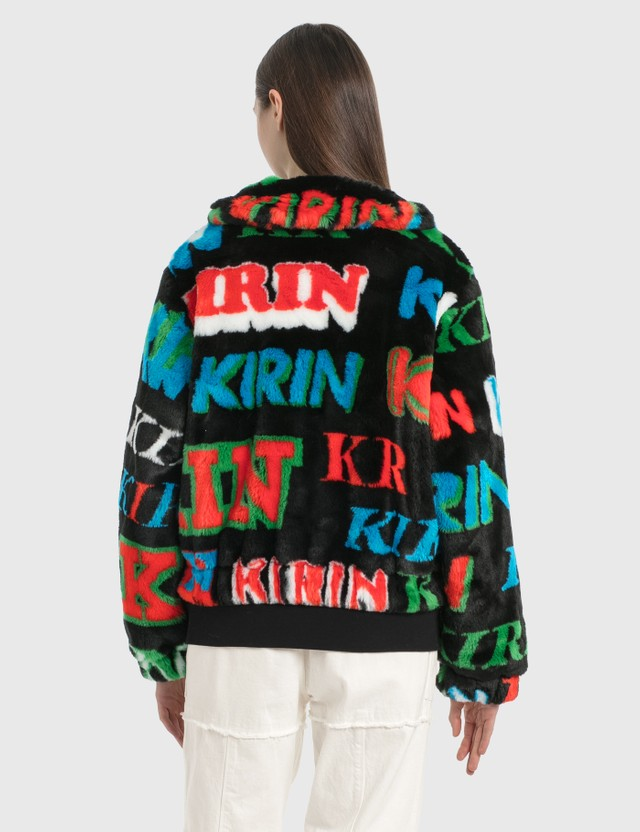 Kirin Typo Fur Jacquard Zip Up Jacket Black Green Women