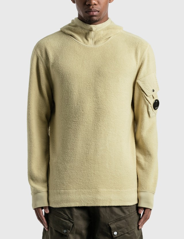 CP Company Garment Dyed Polar Fleece Lens Hoodie Oyster Grey Men