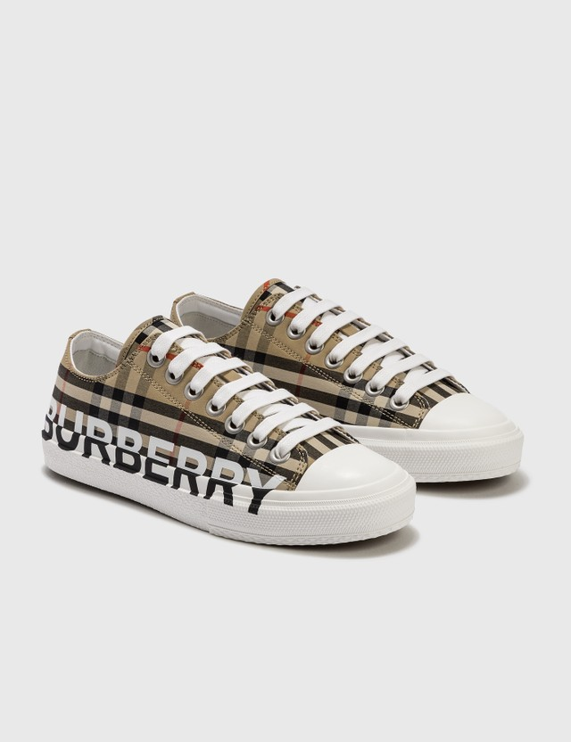 Burberry Logo Print Vintage Check Cotton Sneakers Archive Beige Women