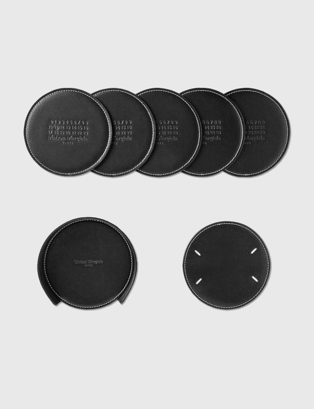 Maison Margiela Leather 6 Pack Coaster Black Unisex
