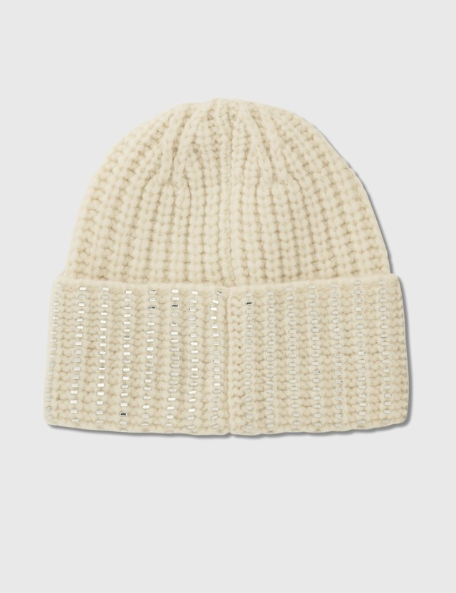 Moncler Knit Beanie With Silver Details White Women