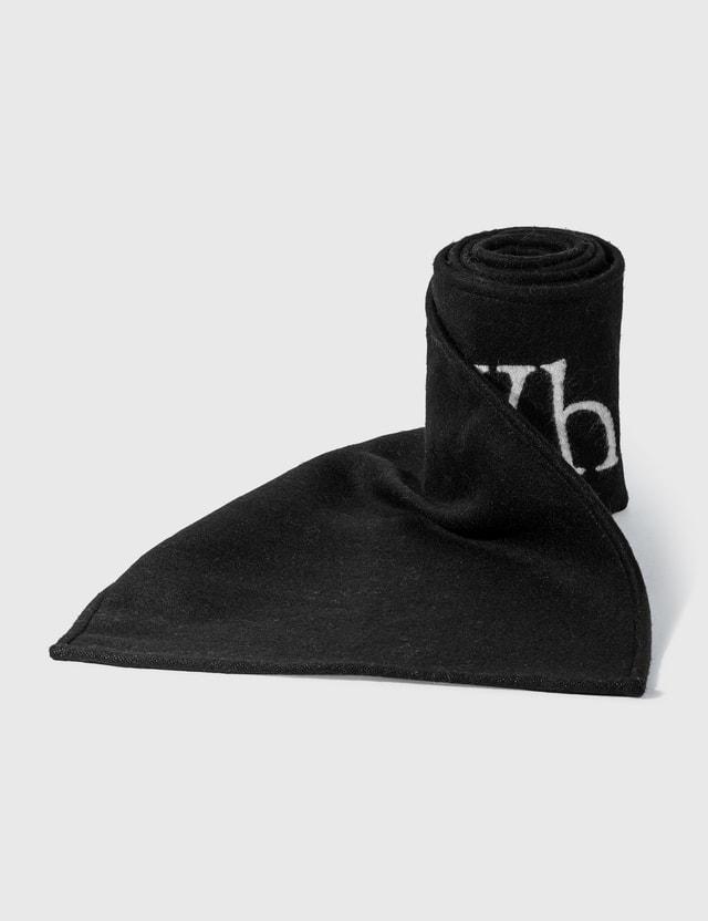 Off-White Intarsia-Knit Logo Scarf Black Men