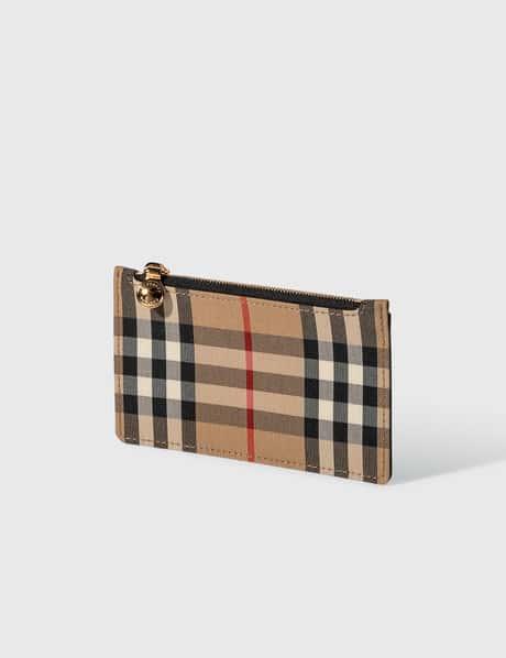 버버리 Burberry Vintage Check and Leather Zip Card Case