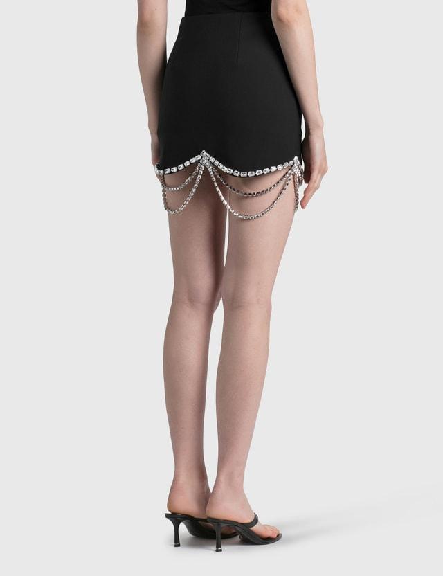 Area Draped Crystal Scallop Mini Skirt Black Women