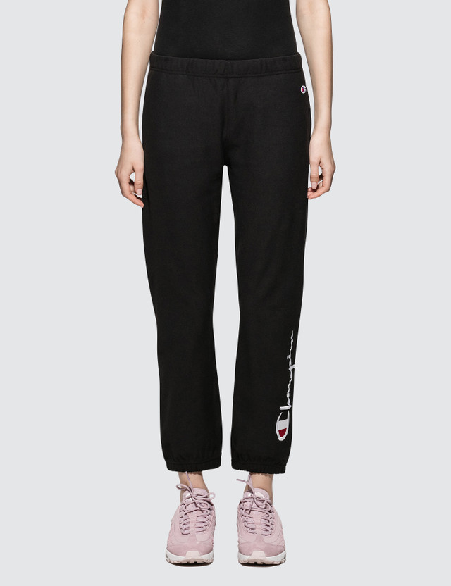 Champion Reverse Weave Elastic Cuff Pants Black Women