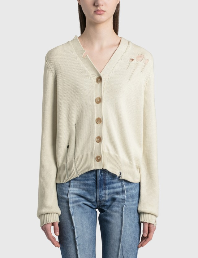 Maison Margiela Wool Distressed Cardigan Stone Women