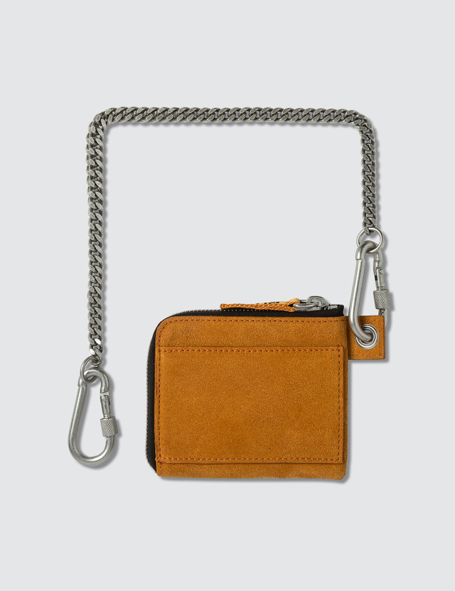 Heron Preston Ctnmb Suede Zip Around Wallet