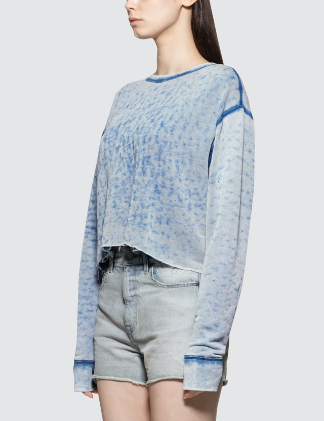 John Elliott Snyder Burnout Cropped Crew Sweatshirt
