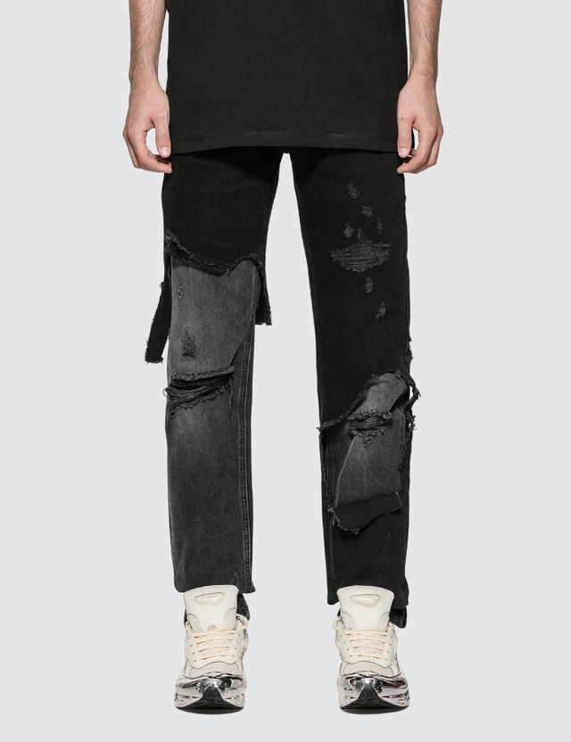 Raf Simons Slim Fit Destroyed Jeans