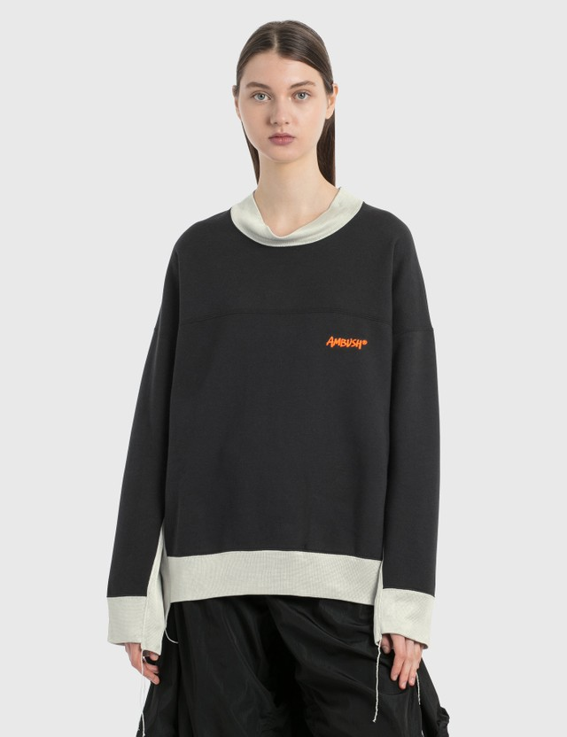Ambush Paneled Asymmetric Sweatshirt Navy L.beige Women