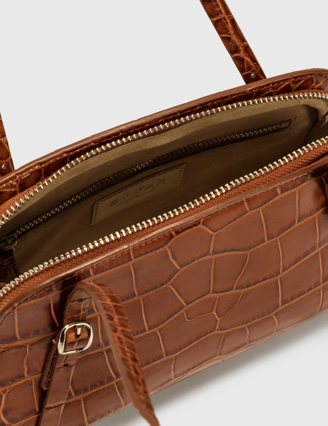 BY FAR Lora Tan Croco Embossed Leather Shoulder Bag Tan Women